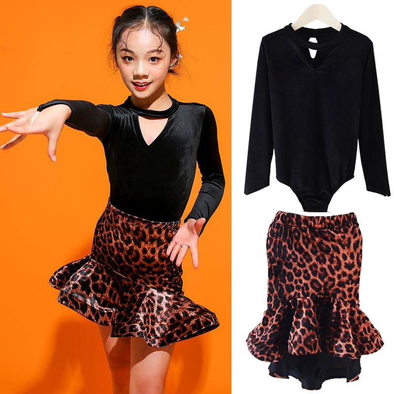 Latin clothes children's training clothes girl's Latin dress long sleeve girl's dance clothes children's performance clothes