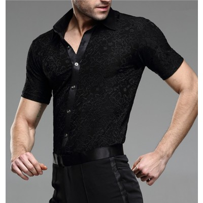Latin Dance Shirts Ballroom Dance Shirts Latin jacket men Short Sleeve Dance Costume performance clothes