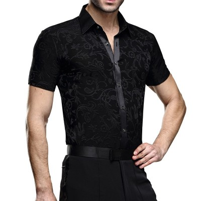 Latin Dance Shirts Ballroom Dance Shirts short sleeve dance costume, modern dance costume, National Standard Dance Costume
