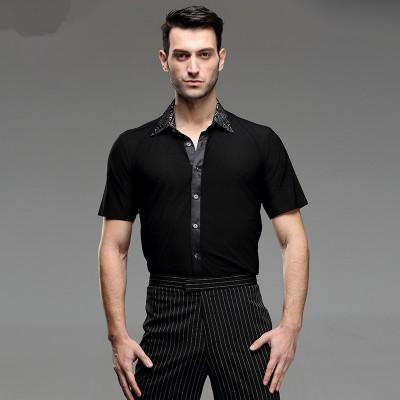 Latin Dance Shirts Ballroom Dance Shirts Square Dance Men's National Standard Dance Practice Short Sleeve Adult Modern Dance Costume Latin Dance Top