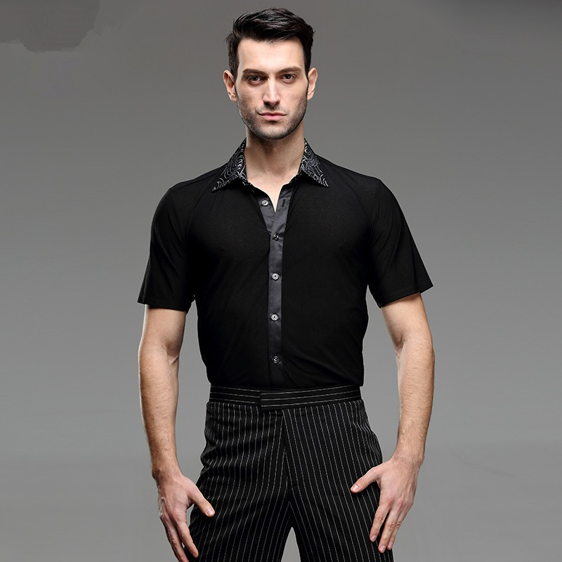 Latin Dance Shirts Ballroom Dance Shirts Square Dance Men's National Standard Dance Practice Short Sleeve Adult Modern Dance Costume Latin Dance Top