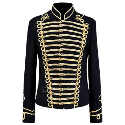 Men's jazz dance coat black with gold pattern fashion night club dj singers host chorus magician stage performance cosplay jacket coats