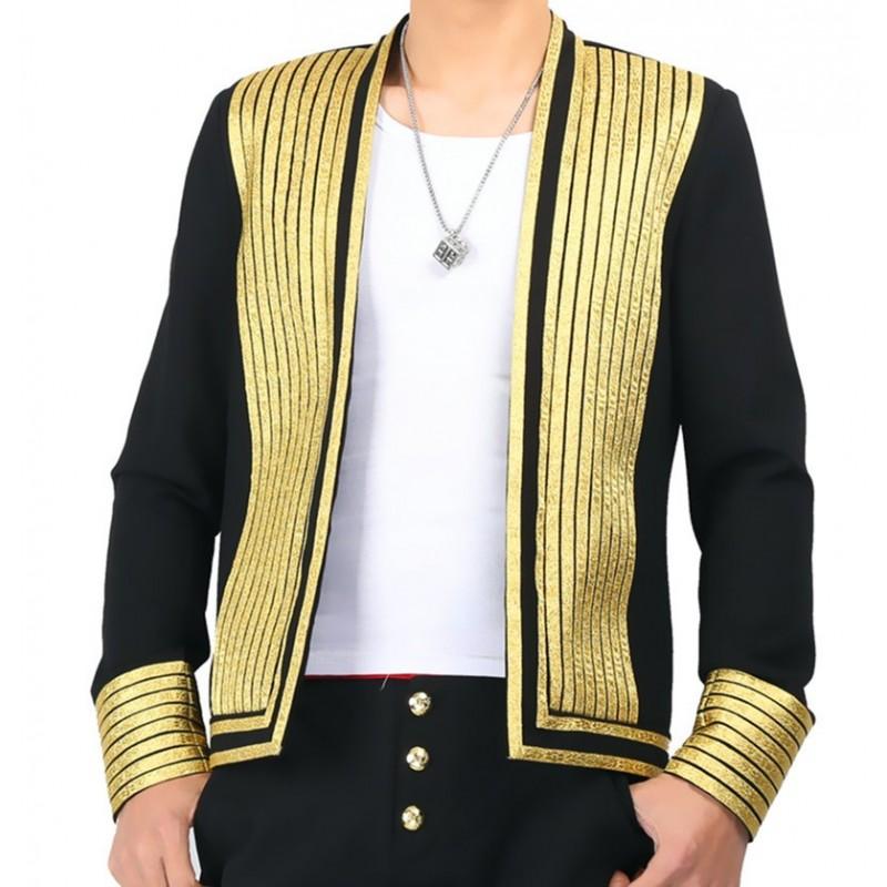 Men's jazz dance coats blazers night club model show stage performance ds dj singers host coats professional dance tops and jackets