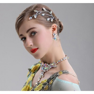 Professional stage performance dance headdress performance Latin dance national standard dance modern dance competition headdress with diamond accessories