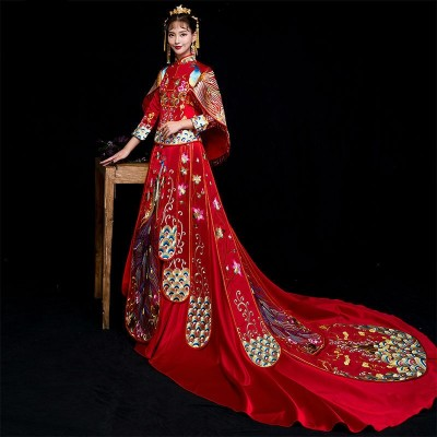Red Traditional Chinese Wedding Gown Ladies Cheongsam Long Dress Qipao Vestido Oriental Style Dresses Traditional Chinese Clothing