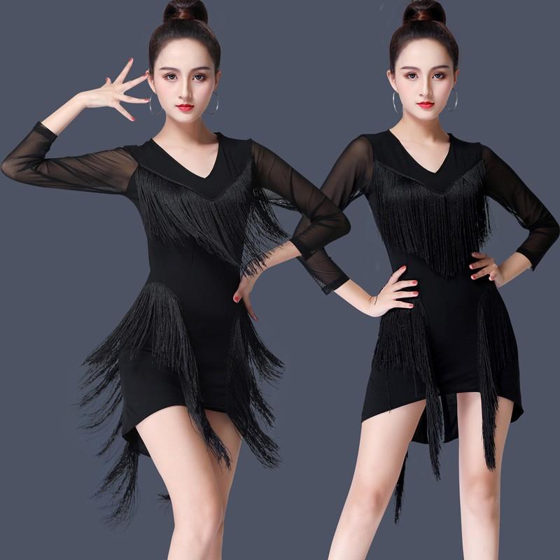 Tassels Latin dance costume female performance dress Latin dance skirt fringed dress Latin Dance Dresses