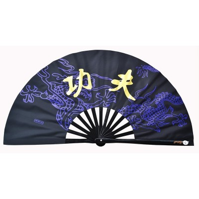 Dragon pattern kung fu fan martial arts dragon tai chi fan bamboo bone fan for women and men