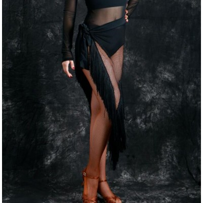 Black triangle hip scarf latin dance skirt salsa rumba chacha modern dance practice skirt for women écharpe hanche triangle danse latine