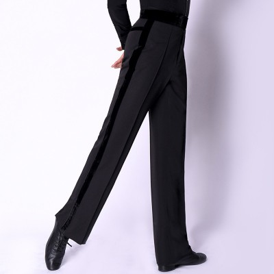 Custom size men's black competition ballroom latin dance pants side leg with velvet ribbon pantaloni latini da uomo