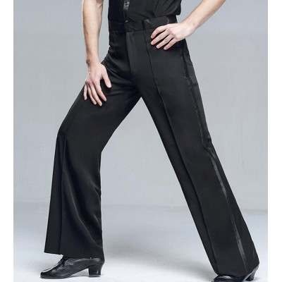 Custom size men's latin ballroom dance pants black side with ribbon competition stage performance long trousers for male