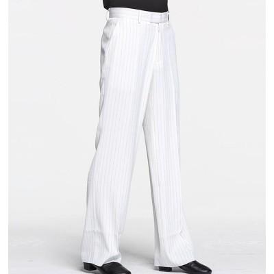 Custom size white striped ballroom latin dance pants for men stage performance  pantalon latin pour homme