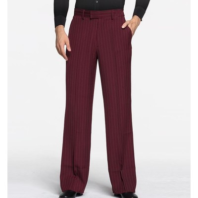 Custom size wine striped latin ballroom dance pants for men competition stage performance waltz tango chacha dance trousers for male