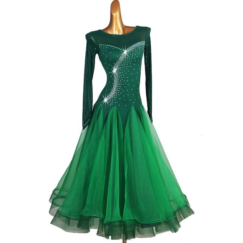 Dark green rhinestones ballroom dance dress waltz tango dance dress for female vestito da ballo da sala verde scuro