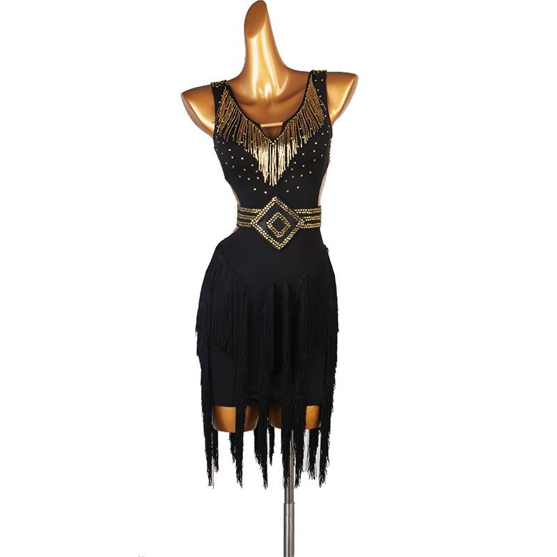 Gold rhinestones competition latin dance dresses for female abito nero da competizione nero