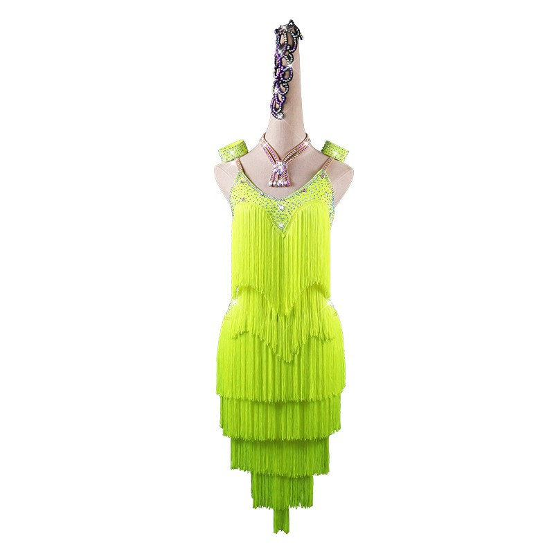 Neon green Latin dance tassel dress competition dance costume for women robe latine