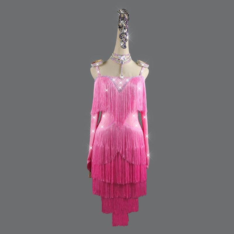 Pink tassel competition  Latin dance rhinestones dress for women robe de danse latine rose pour femme