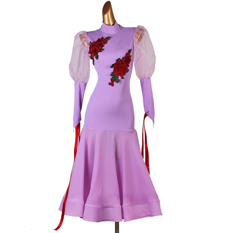 Purple ballroom dance dress for women waltz tango dance dress robe de danse de salon violette