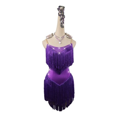 Purple fringes competition latin dresses for women salsa chacha dance dress robe latine pour femme