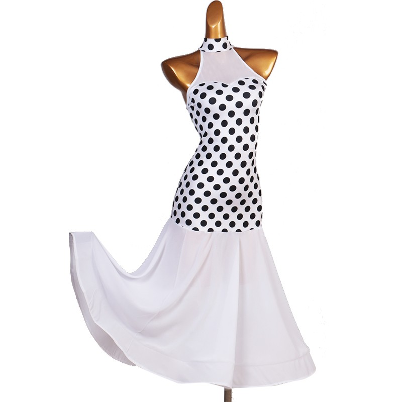 White polka dot ballroom dance dress for women tango waltz dance dress vestido de baile de lunares blanco
