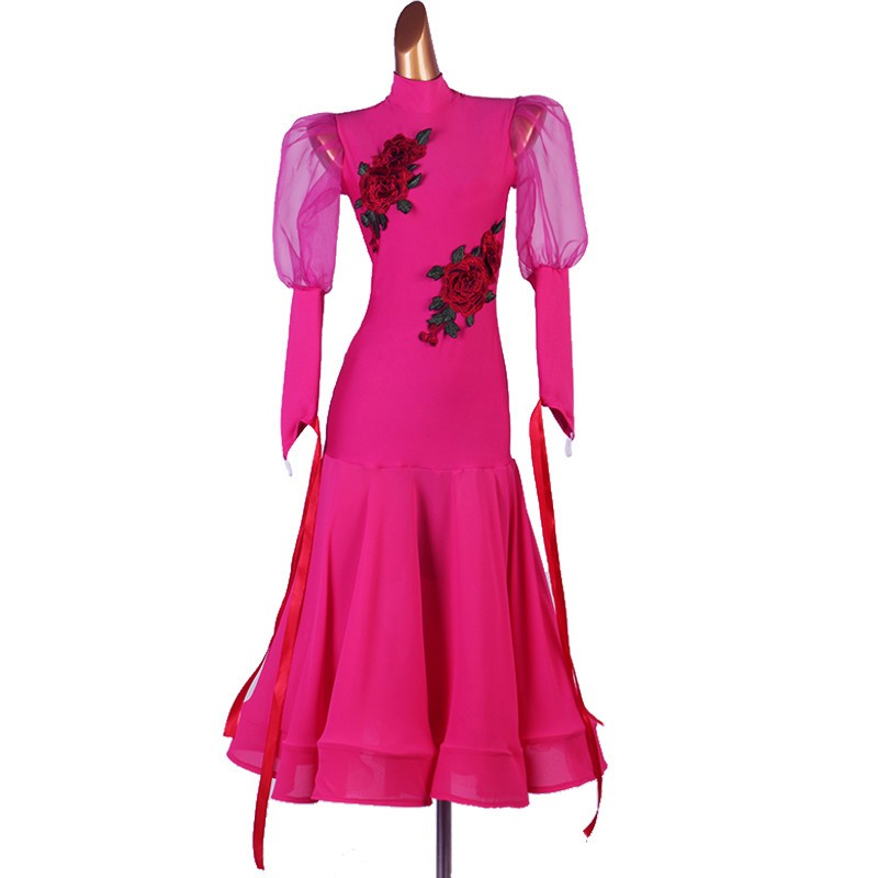 Women fuchsia rose flowers ballroom latin dance dress modern dance salsa rumba dance dress robe de danse latine pour femme