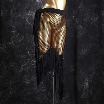Women tassels black latin skirt salsa rumba chacha latin practice hip scarf wrap mesh skirts écharpe hanche danse latine