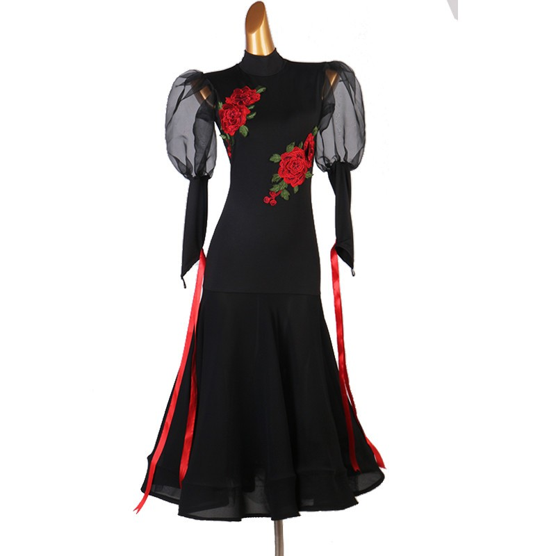Women's black ballroom dance dress with red flowers waltz tango dance dress Robe de danse de salon noire