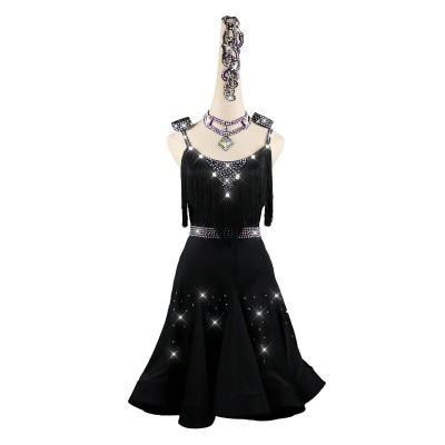 Women's black latin dresses competition rhinestones tassels latin dresses robe de compétition latine femme