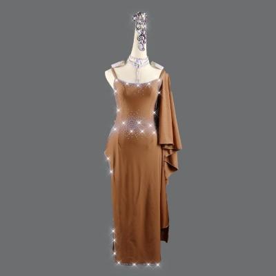 Women's coffee color competition latin dance dresses robe de danse latine pour femme