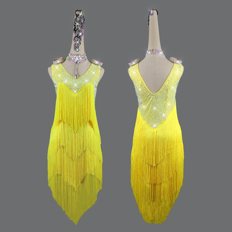 Women's competition yellow latin dance dress salsa chacha dance dress robe latine compétition jaune