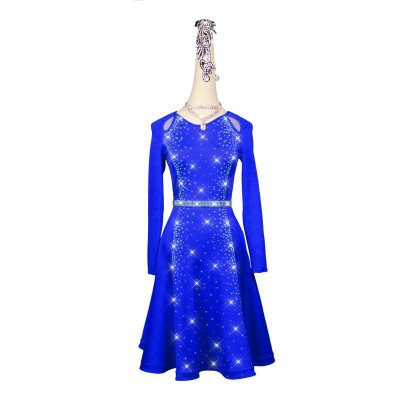 Women's royal blue competition latin dance dresses abito da ballo latino da competizione per donna