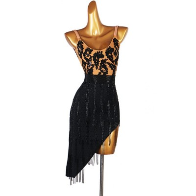 Black diamond Latin dance competition dress for women performance high-end tube bead Latin dance wear sexy Lombard chacha dance skirt