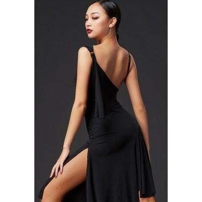 Black fringed backless Latin Dresses For Women Latin Dance Skirt Tango Salsa Gogo ballroom Dance Costumes