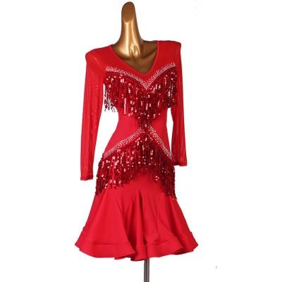 Black red tassel diamond Latin dance dress for women stage performance competition latin suit professional rumba chacha jitba dance skirt
