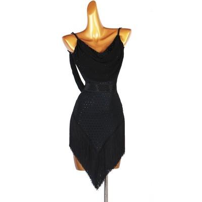 Black rhinestones tassels competition latin dance dress for women girls rumba chacha salsa dance dress modern ballroom dance dress