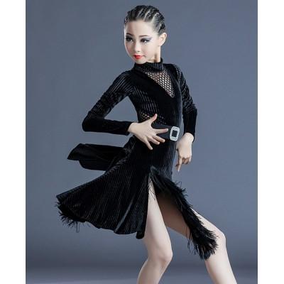 Black velvet Latin dance dress girls children professional competition ballroom dance dress tassel latin skirt salsa rumba chacha dance costumes