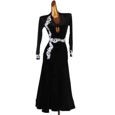 Black velvet with mesh ballroom dancing dress for women girls white embroidered diamond waltz tango dance costumes ballroom dance skirts for female