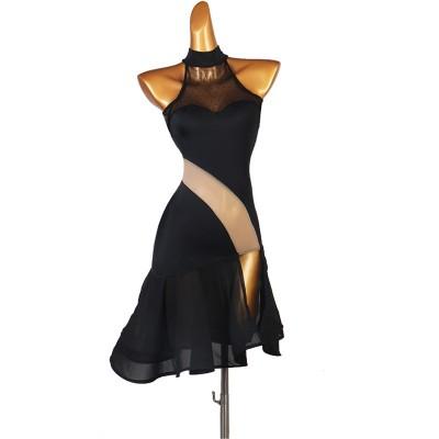 Black with flesh color sexy Latin dance dress for women side split latin performance outfits Lombard Chacha Samba dance skirt