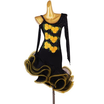Black with gold embroidered flowers diamond competition latin dance dresses for women girls long sleeves salsa rumba chacha dance dress for lady
