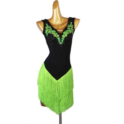 Black with green tassels competition latin dance dress for women girls stage performance rumba salsa chacha ballroom dance dress
