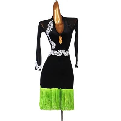 Black with green tassels long sleeves latin dance dress for women girls v neck Diamond competition Latin Dance costumes Fringe Lombard Cha Cha Samba Dress
