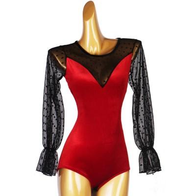 Black with red velvet polka dot competition latin ballroom dance bodysuits for women girls rumba salsa chacha dance body tops