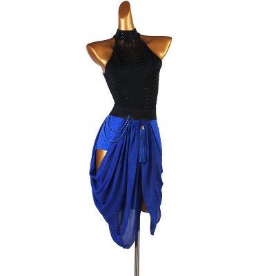Black with royal blue diamond tassels competition latin dance dress for women salsa rumba chacha modern dance costumes for female