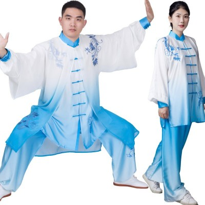 Blue Embroidered Tai Chi Clothing for unisex Gradient chinese kung fu martial art Practice clothes wushu competition performance clothes