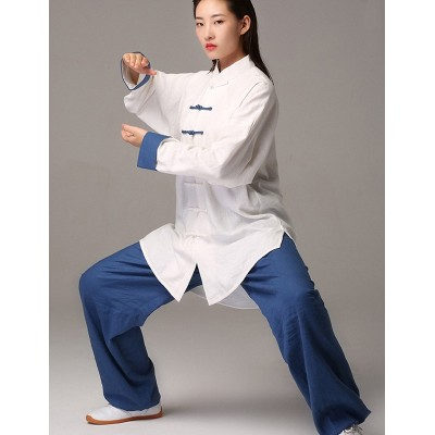 Blue green white Linen Tai Chi Clothing for unisex chinese kung fu martial art wushu practice stage performance clothes morning exercises fitness uniforms for women and men