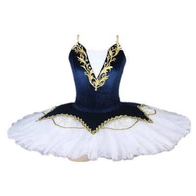 Children Girls blue velvet tutu skirts little swan lake ballet dance dressfluffy tutu skirt ballerina kids stage performance ballet dance costume