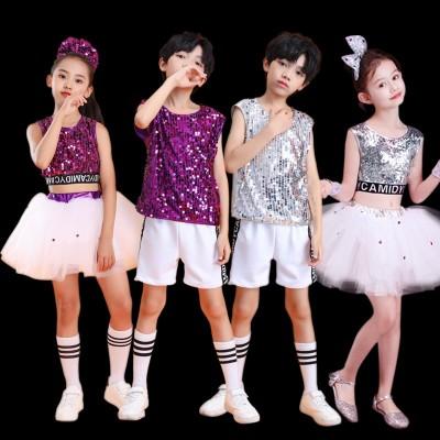 Children girls boys Silver purple sequined jazz dance costumes princess pettiskirt host singers performance costumes princess dance costumes