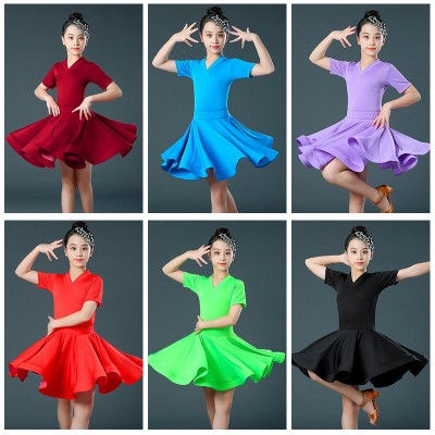 Children girls latin dance dresses neon green purple black red violet latin dress modern dance short sleeves latin dance outfits ballroom dance dress for kids
