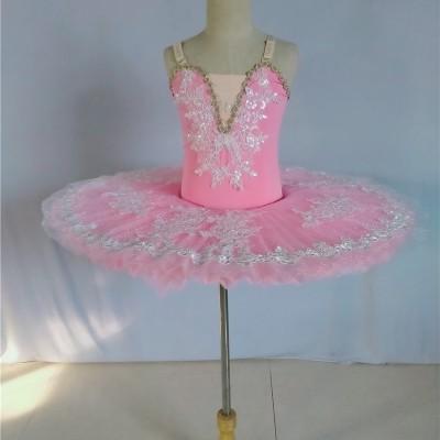 Children Girls little swan lake pink tutu skirt ballet dance performance dresses girls professional ballerina  pancake pettiskirts stage performance costumes