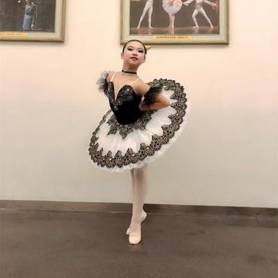Children Girls professional white with black tutu skirt Swan Lake ballerina pancake pettiskirts classical ballet dance dress for kids ballet stage costumes