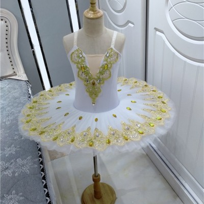 Children Girls white pink ballet dance dress tutu skirt with gold gemstones cygnet dance pettiskirt skirt Swan Lake professional ballerina performance dress